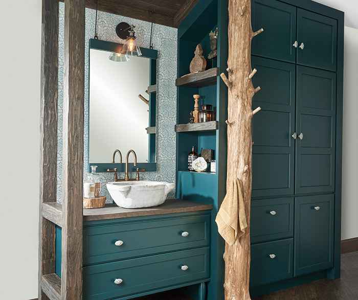 Charmant ... Teal Green Bathroom Vanity And Storage Cabinets With A Tree Trunk Towel  Rack ...