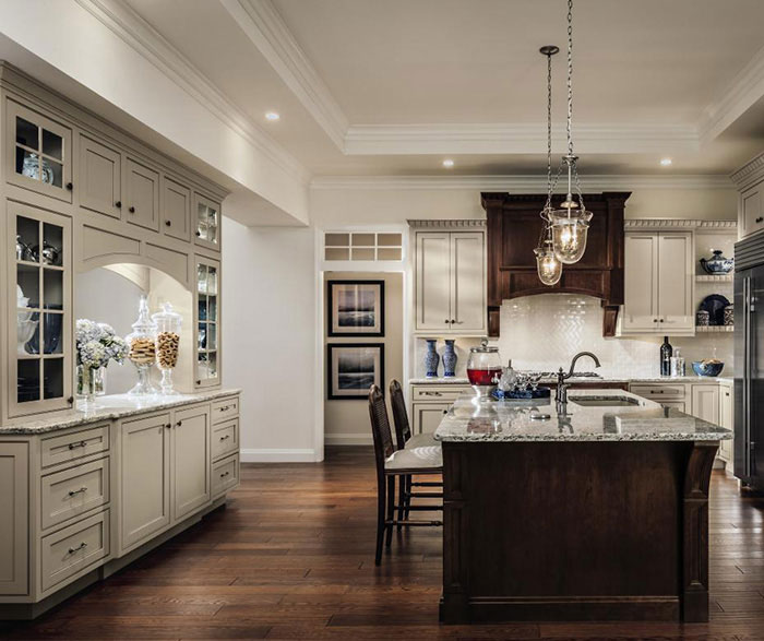 Painted Maple Cabinets and Cherry Kitchen Island - Decora