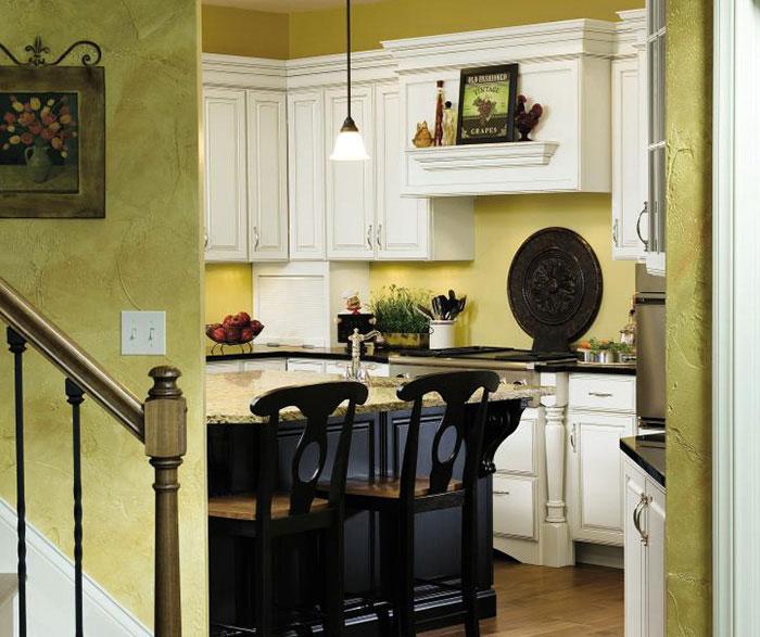 Off White Kitchen with Black Island Cabinets - Decora