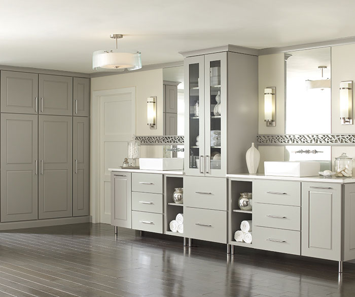 Gray Cabinets Casual Bathroom