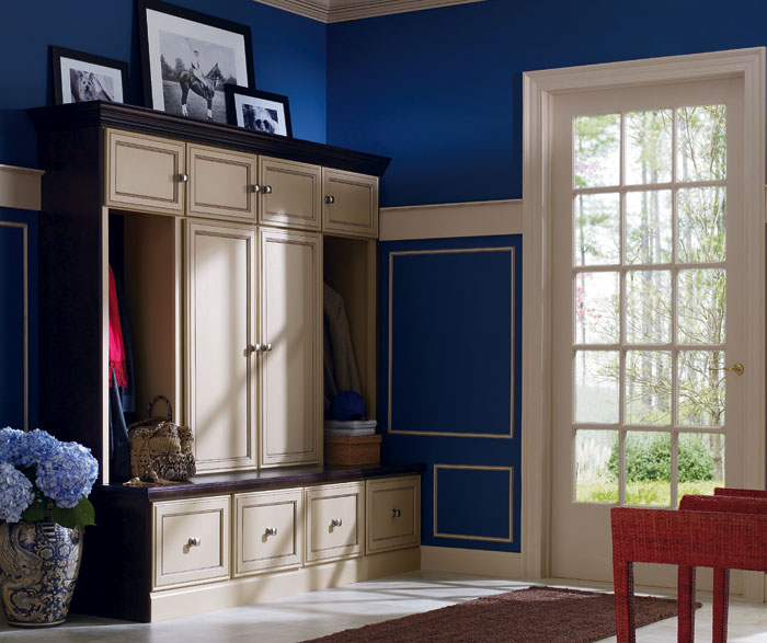 Entryway storage cabinets by Decora Cabinetry