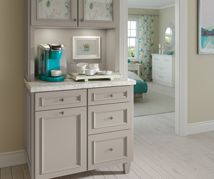 Haskins coffee bar cabinets in Maple Creekstone paint color