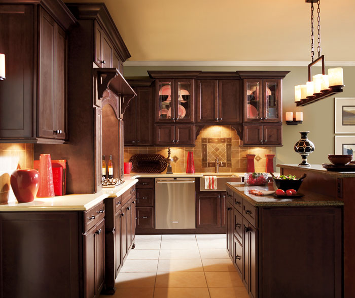Dark Maple kitchen cabinets by Decora Cabinetry