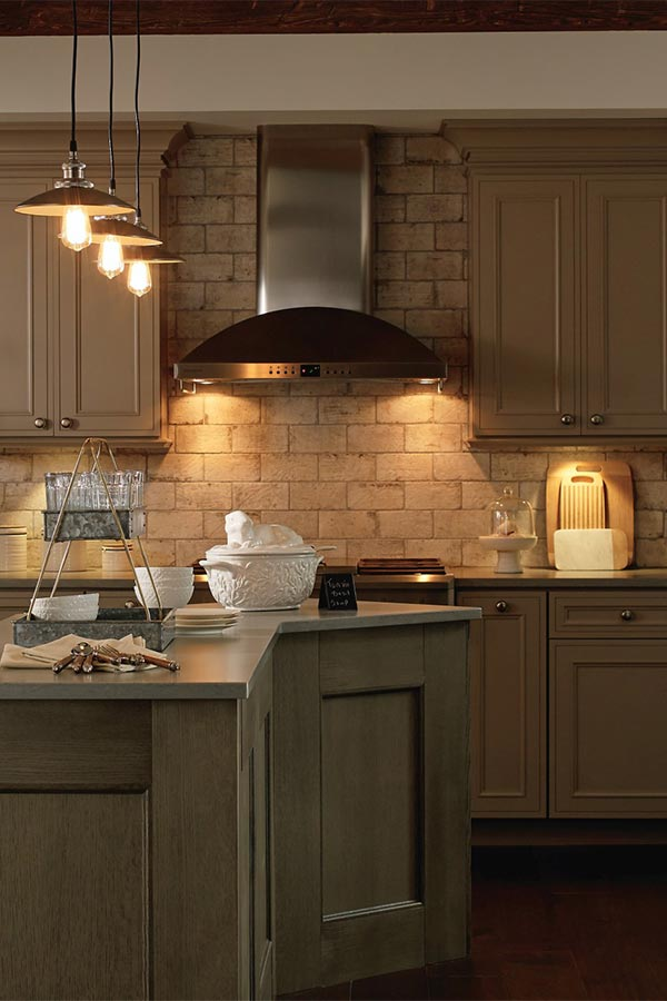 Kitchen cabinets with Sensio lighting installed